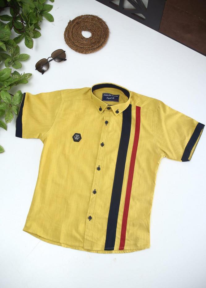 Sanaulla Exclusive Range Cotton Fancy Shirts for Boys -  2003 Yellow