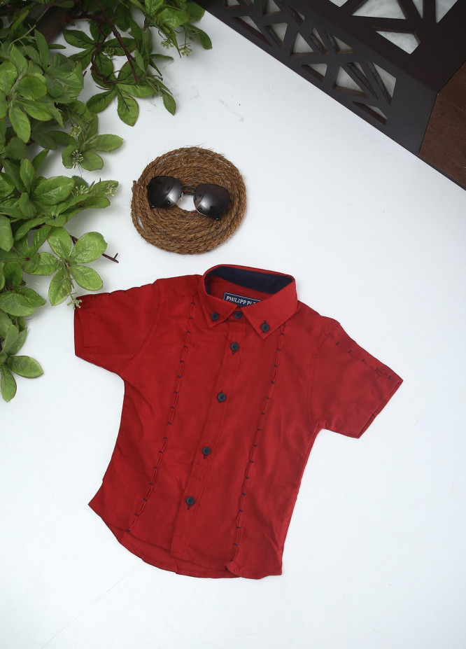 Sanaulla Exclusive Range Cotton Fancy Shirts for Boys -  2005 Red