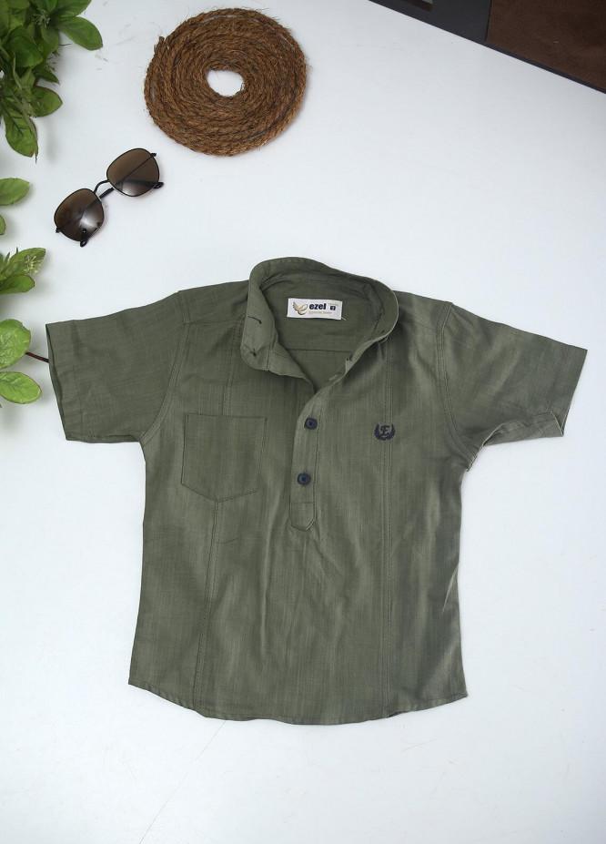 Sanaulla Exclusive Range Cotton Fancy Shirts for Boys -  2008 Green