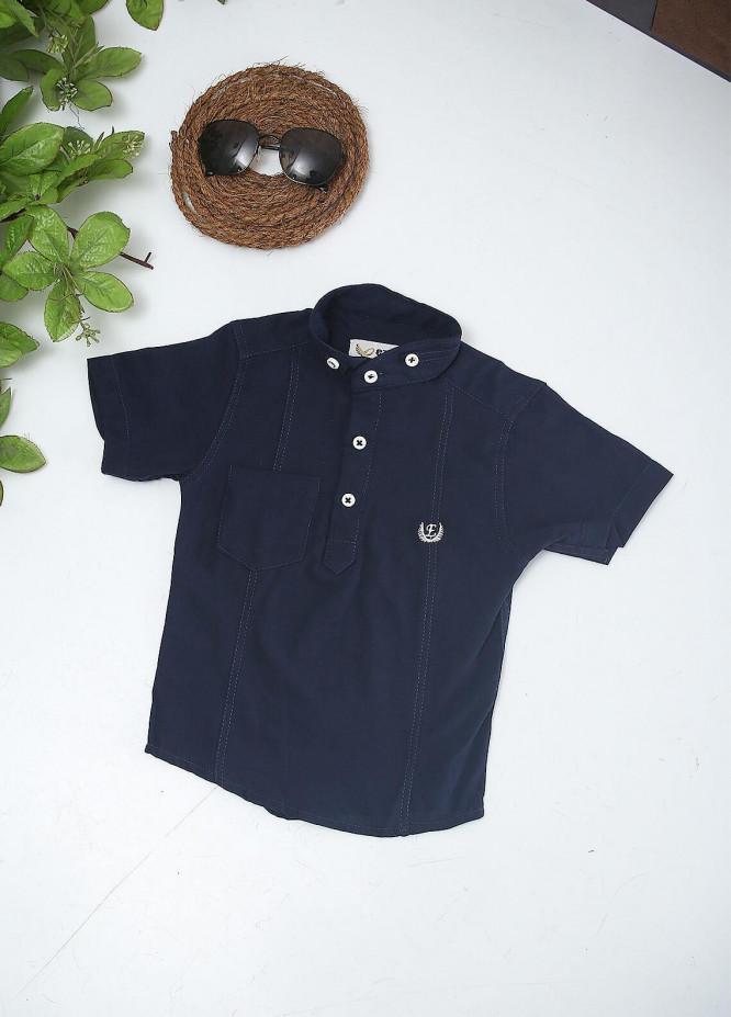 Sanaulla Exclusive Range Cotton Fancy Boys Shirts -  2008 Navy Blue