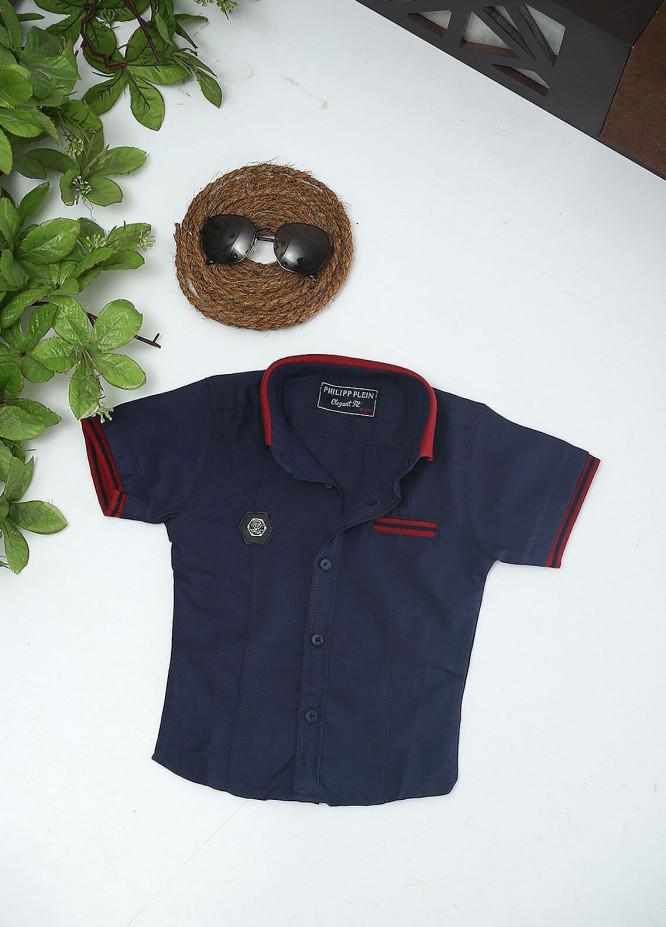 Sanaulla Exclusive Range Cotton Fancy Boys Shirts -  51 Navy Blue
