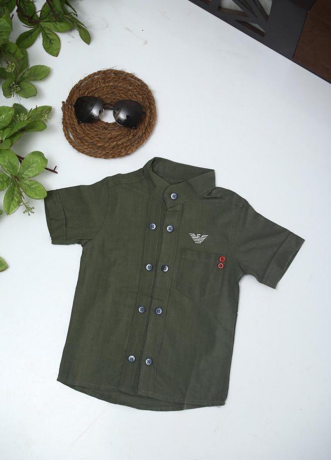 Sanaulla Exclusive Range Cotton Fancy Shirts for Boys -  AR35 Green