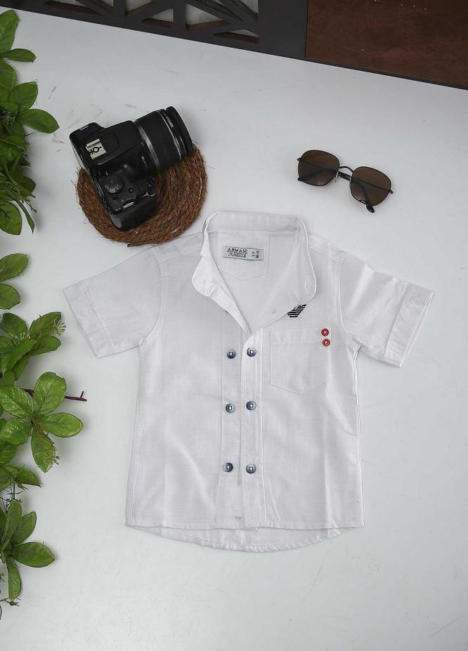 Sanaulla Exclusive Range Cotton Fancy Boys Shirts -  AR35 White