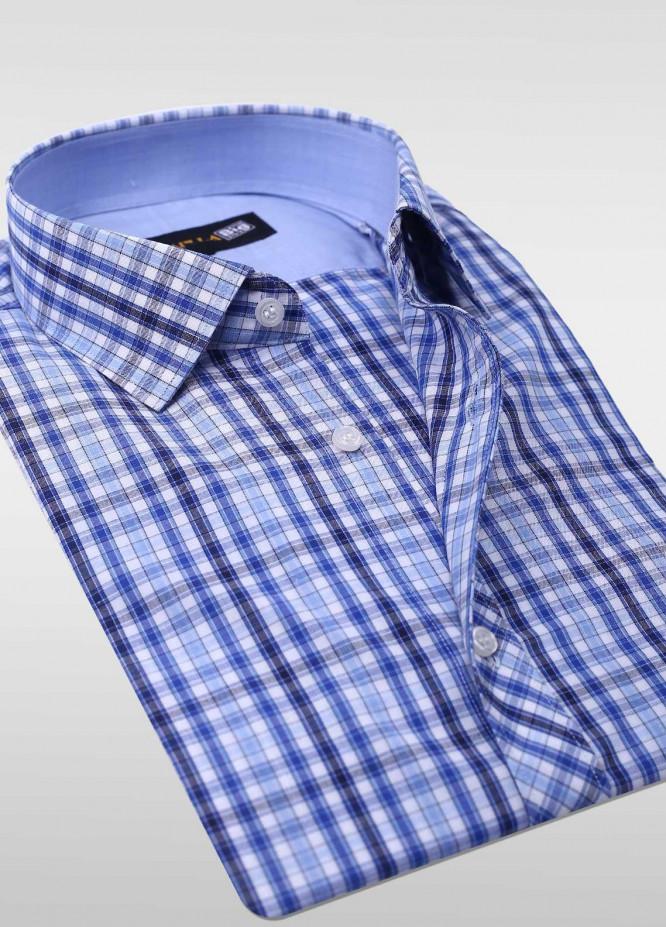Sanaulla Exclusive Range Cotton Check Shirts for Men -  SU20PS C-714 Blue Check