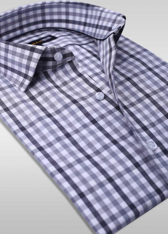 Sanaulla Exclusive Range Cotton Check Men Shirts - SU20PS C-746-Black&White