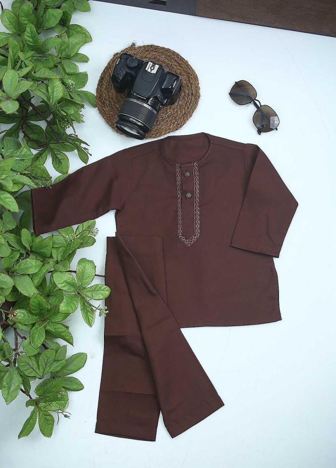 Sanaulla Exclusive Range Cotton Formal Kurta Shalwar for Kids - C-758 D-Brown