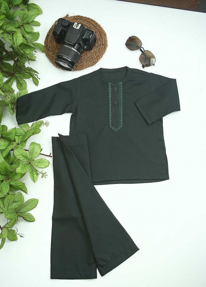 Sanaulla Exclusive Range Cotton Formal Kids Kurta Shalwar -  C-758 D-Green