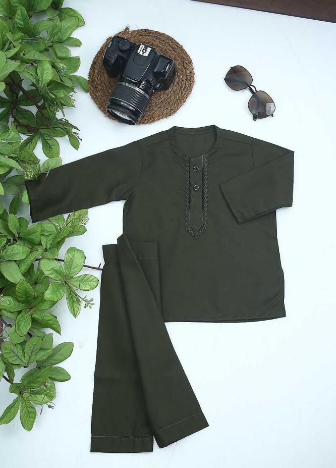 Sanaulla Exclusive Range Cotton Formal Kurta Shalwar for Kids -  C-758 Green