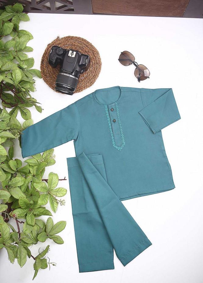 Sanaulla Exclusive Range Cotton Formal Kurta Shalwar for Kids -  C-758 P-Green