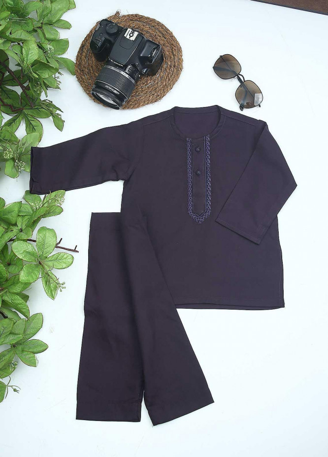 Sanaulla Exclusive Range Cotton Formal Kurta Shalwar for Kids -  C-758 Purple
