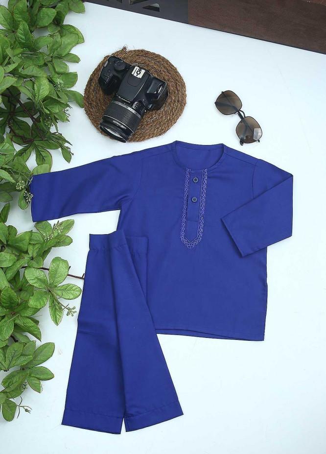 Sanaulla Exclusive Range Cotton Formal Kids Kurta Shalwar -  C-758 R-Blue