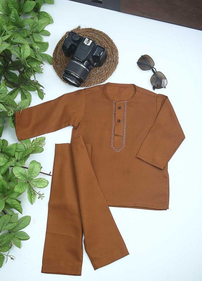 Sanaulla Exclusive Range Cotton Formal Kurta Shalwar for Kids -  C-758 Yellow