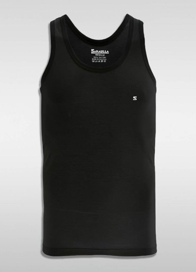 Sanaulla Exclusive Range Cotton Casual Men Vest -  SU21V S-L Black