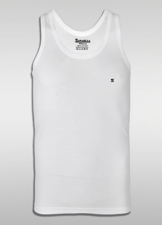 Sanaulla Exclusive Range Cotton Casual Vest for Men -  SU21V S-L White