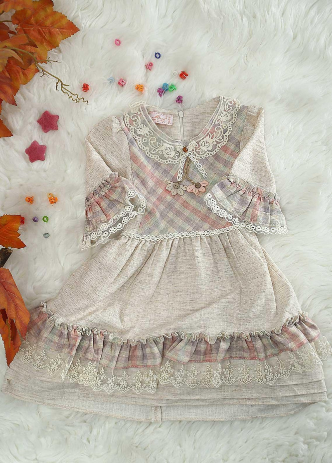 Sanaulla Exclusive Range Cotton Casual Frocks for Girls -  21219 Fawn-Pink