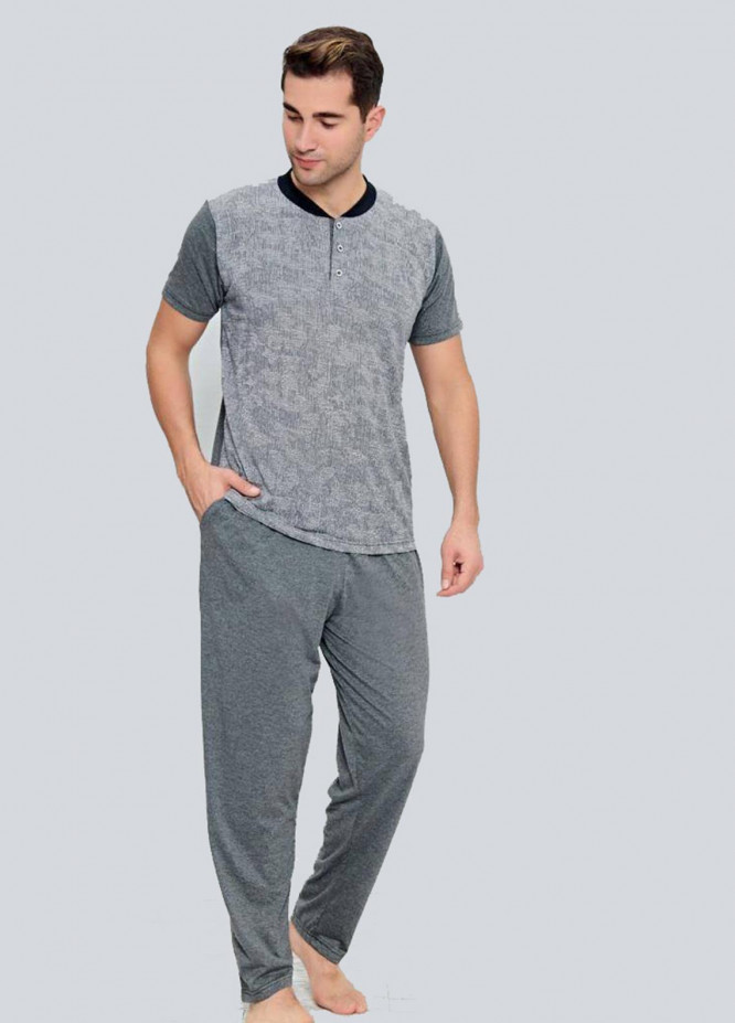 Cotton 2 Piece for Men Home Wear SU21MH D-08 L-Grey