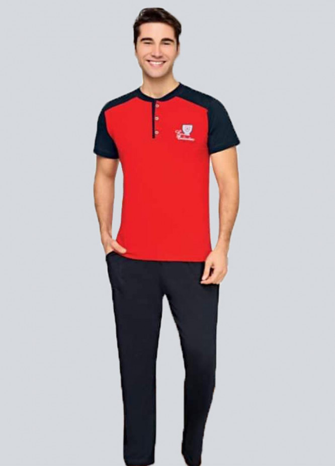 Cotton 2 Piece for Men Home Wear SU21MH D-15 Red