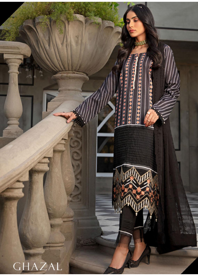 Sanaya Embroidered Lawn Suits Unstitched 3 Piece SNY21L Ghazal - Luxury Collection