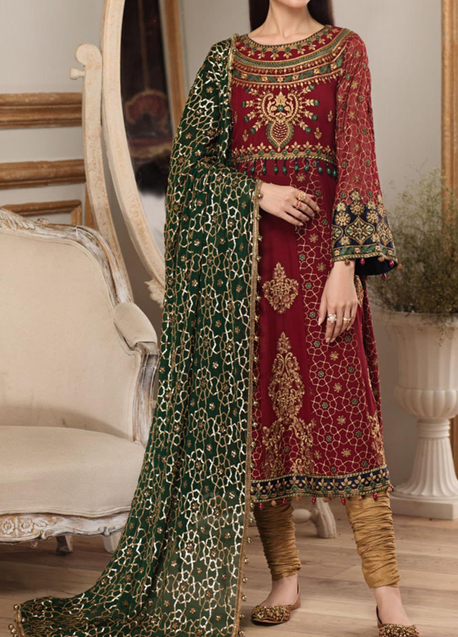 Sangat By Mohagni Embroidered Chiffon Unstitched 3 Piece Suit MO20S 03 - Luxury Collection