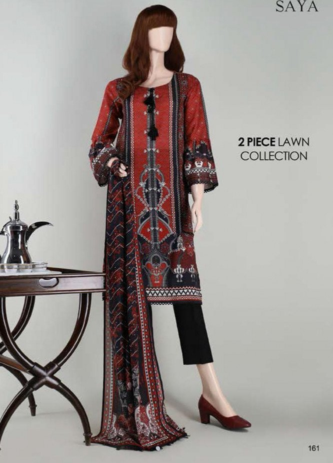 Saya Embroidered Lawn Suits Unstitched 2 Piece SY21SS AJRAK MANIA (UR-2023-02C) - Spring / Summer Collection