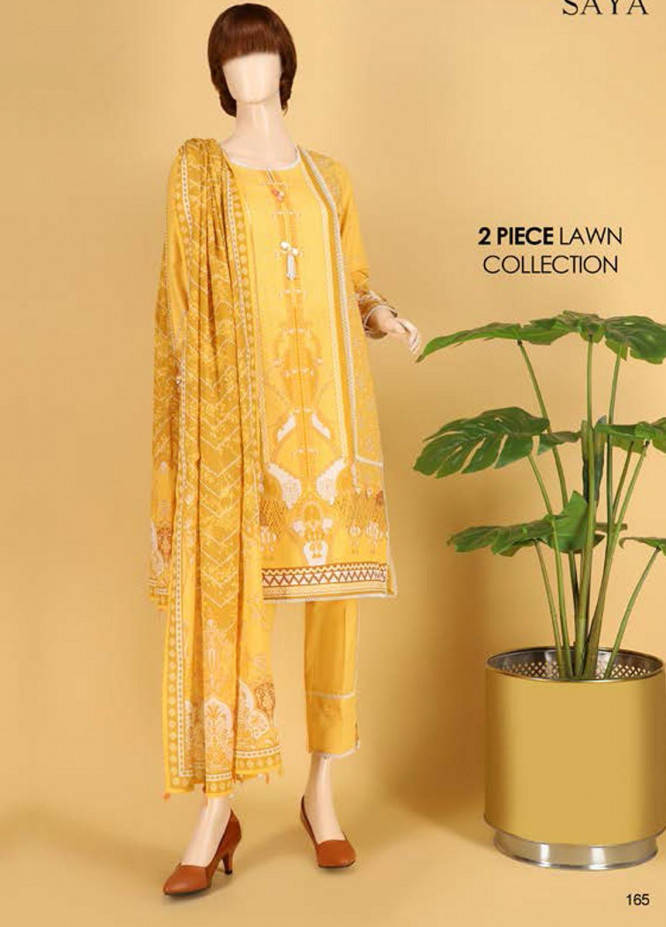 Saya Embroidered Lawn Suits Unstitched 2 Piece SY21SS AJRAK MANIA (UY-2023-02B) - Spring / Summer Collection