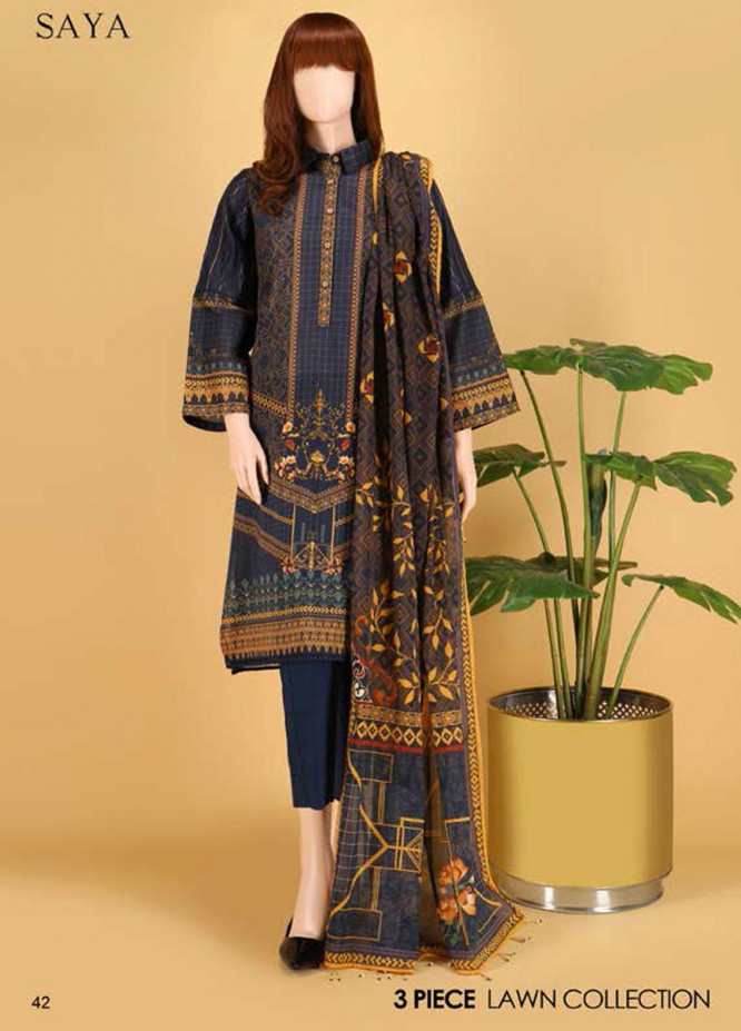 Saya Embroidered Lawn Suits Unstitched 3 Piece SY21SS CHARISMA (UB-2101-13A) - Spring / Summer Collection