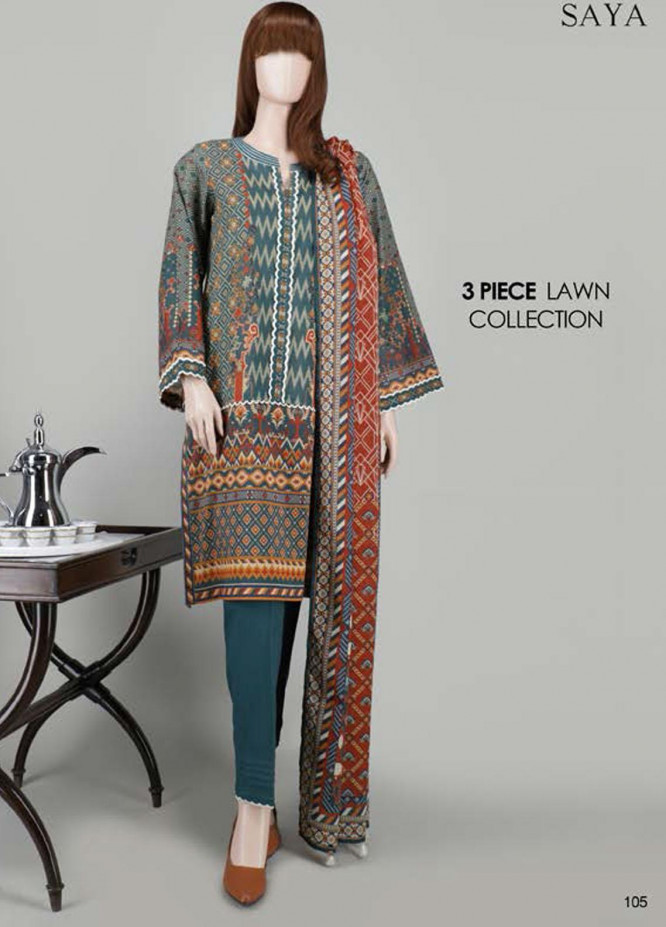 Saya Embroidered Lawn Suits Unstitched 3 Piece SY21SS CONTRASTING MAGIC (UT-2023-17B) - Spring / Summer Collection
