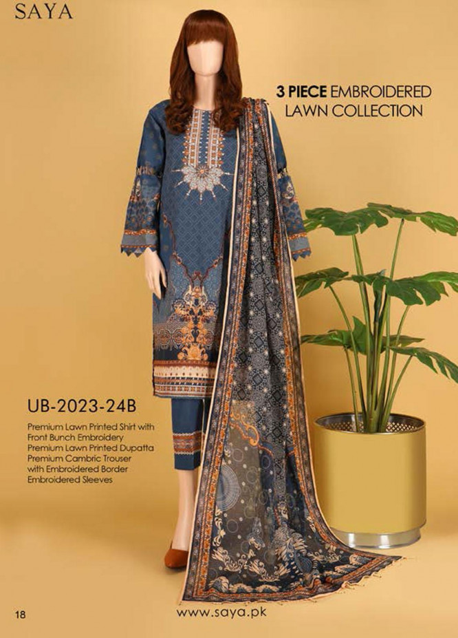 Saya Embroidered Lawn Suits Unstitched 3 Piece SY21SS CULTURAL BEAUTY (UB-2023-24B) - Spring / Summer Collection