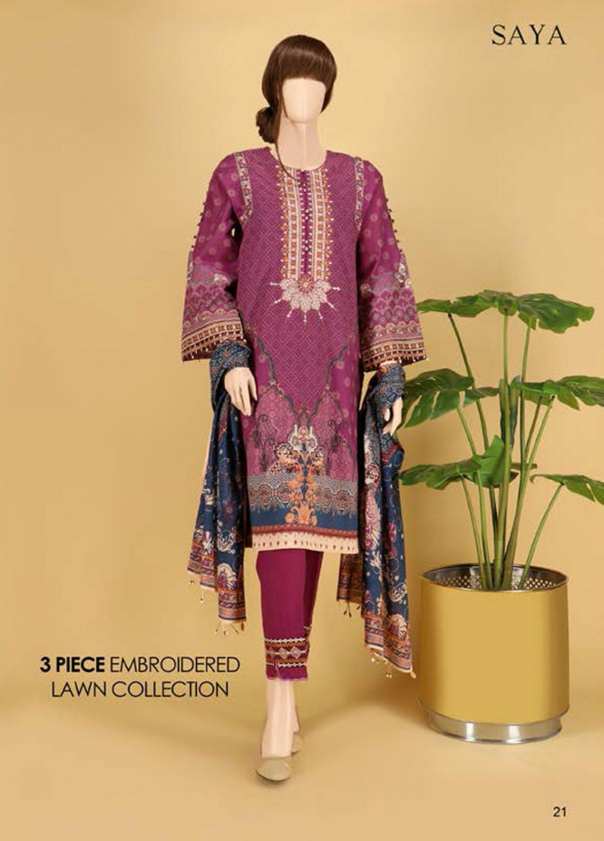 Saya Embroidered Lawn Suits Unstitched 3 Piece SY21SS CULTURAL BEAUTY (UP-2023-24C) - Spring / Summer Collection