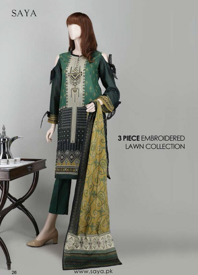 Saya Embroidered Lawn Suits Unstitched 3 Piece SY21SS EMPRESS (UG-2023-22D) - Spring / Summer Collection