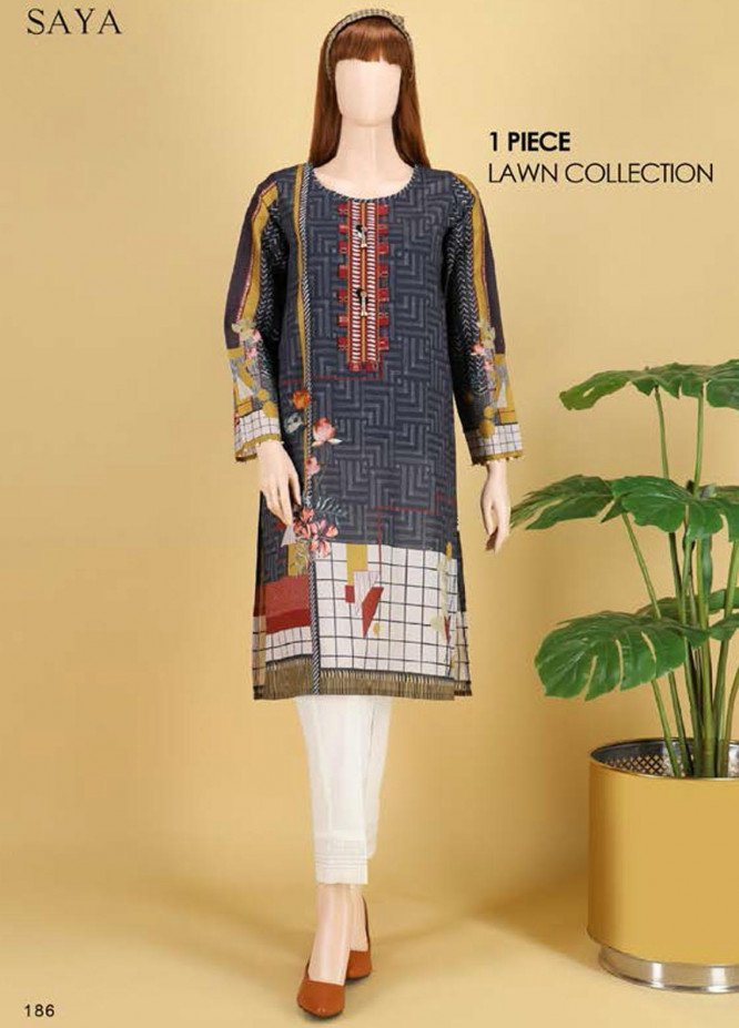Saya Embroidered Lawn  Unstitched Kurties SY21SS ESTELLA (UB-2103-03A) - Spring / Summer Collection