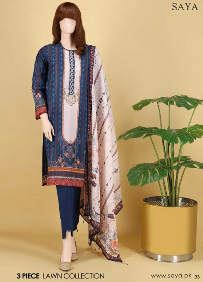 Saya Embroidered Lawn Suits Unstitched 3 Piece SY21SS EVENING SHADE (UB-2101-06A) - Spring / Summer Collection