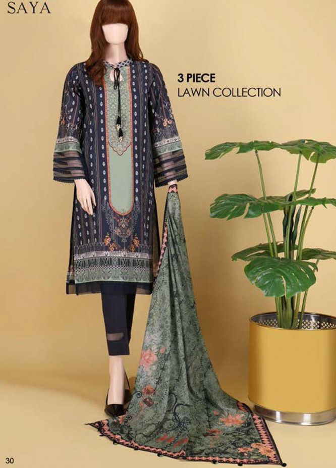 Saya Embroidered Lawn Suits Unstitched 3 Piece SY21SS EVENING SHADE (UB-2101-06B) - Spring / Summer Collection