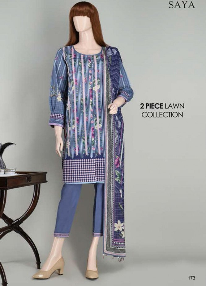 Saya Embroidered Lawn Suits Unstitched 2 Piece SY21SS FLORAL CHEBRONS (UP-2023-19B) - Spring / Summer Collection