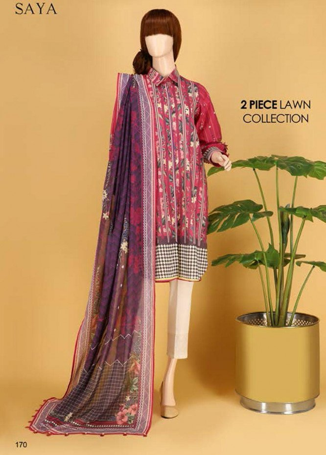 Saya Embroidered Lawn Suits Unstitched 2 Piece SY21SS FLORAL CHEVRONS (UP-2023-19D) - Spring / Summer Collection