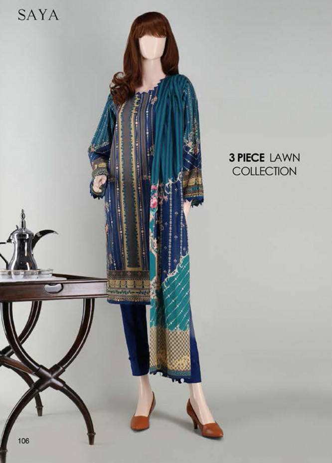 Saya Embroidered Lawn Suits Unstitched 3 Piece SY21SS FLORAL DROPLETS (UB-2023-20D) - Spring / Summer Collection