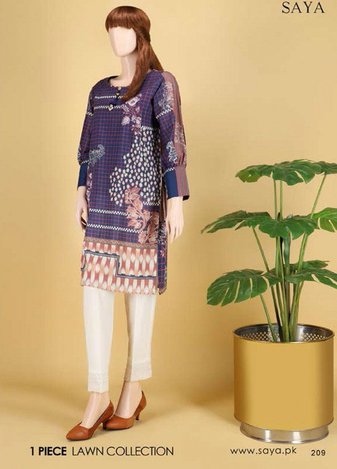Saya Embroidered Lawn  Unstitched Kurties SY21SS FLORAL FANTASY (UP-2103-09C) - Spring / Summer Collection
