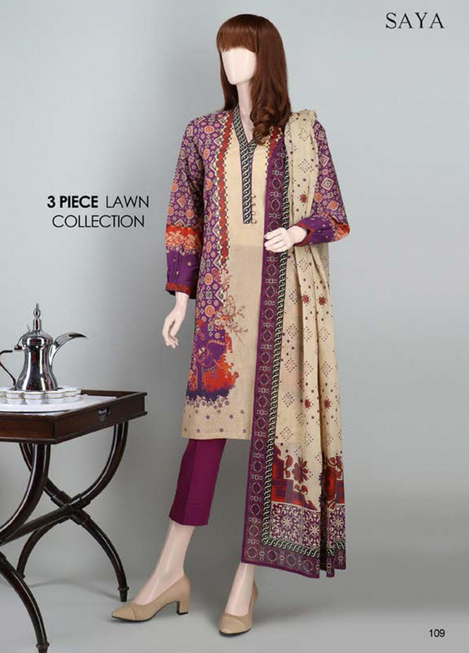 Saya Embroidered Lawn Suits Unstitched 3 Piece SY21SS FLORYN (UP-2023-23C) - Spring / Summer Collection