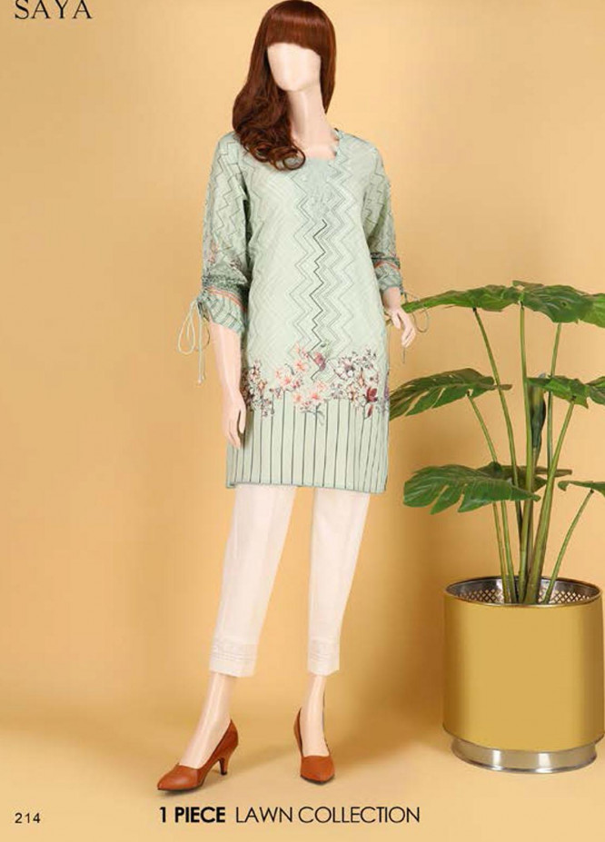 Saya Embroidered Lawn  Unstitched Kurties SY21SS FLUTTER BYE (UG-2103-13B) - Spring / Summer Collection