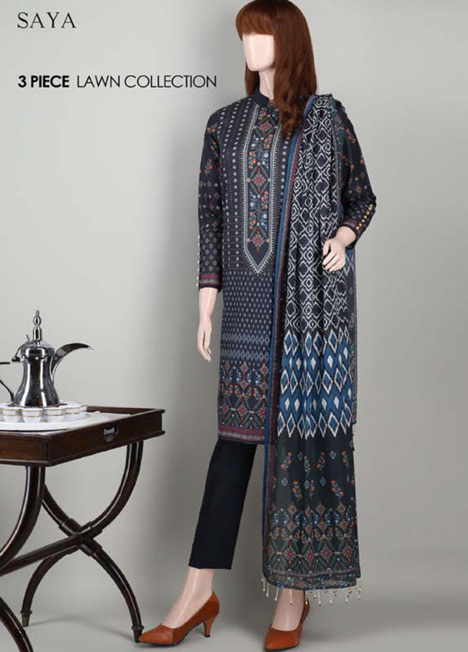 Saya Embroidered Lawn Suits Unstitched 3 Piece SY21SS FRESH CITRON (UB-2101-15A) - Spring / Summer Collection