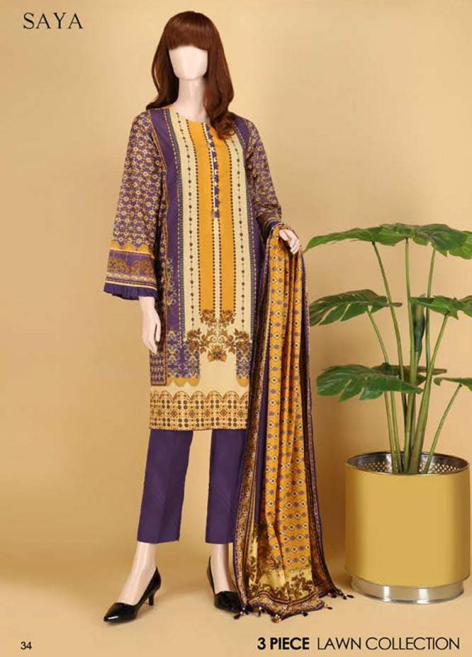 Saya Embroidered Lawn Suits Unstitched 3 Piece SY21SS GRANITE (UP-2101-08B) - Spring / Summer Collection