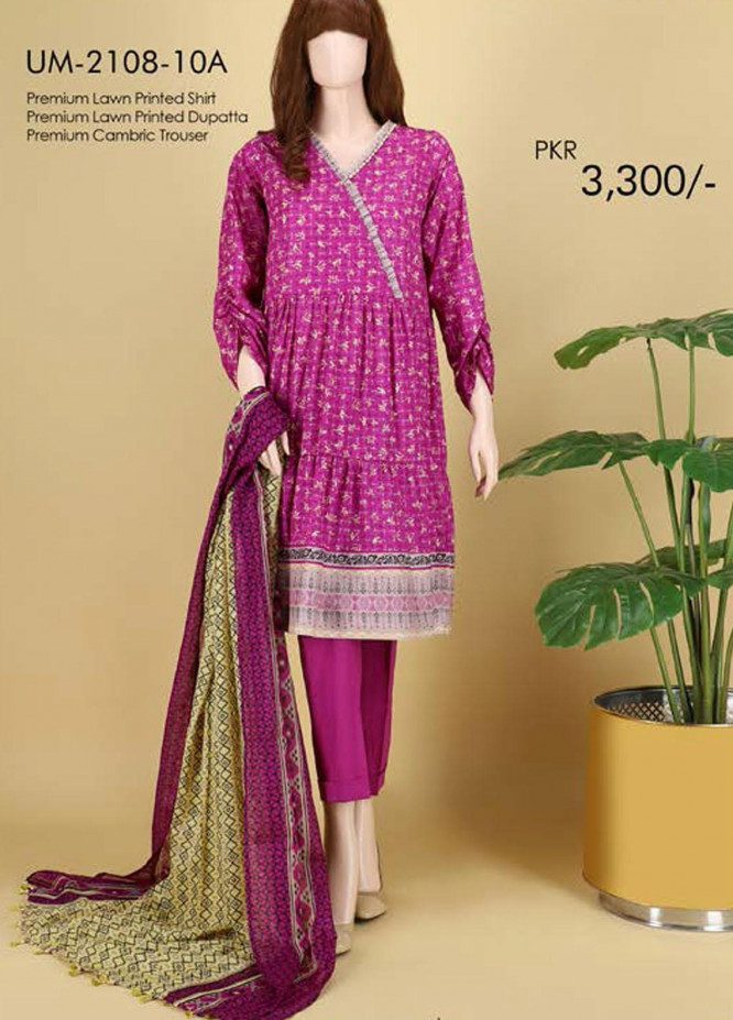 Saya Embroidered Lawn Suits Unstitched 3 Piece SY21SS HAYA (UM-2108-10A) - Spring / Summer Collection