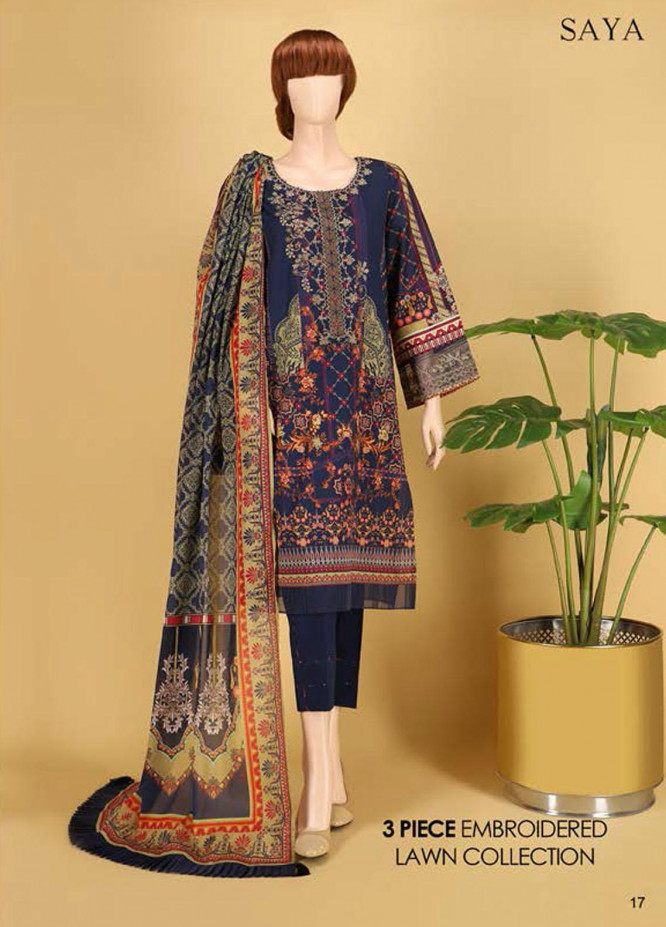 Saya Embroidered Lawn Suits Unstitched 3 Piece SY21SS IN BLOCKS (UB-2023-21D) - Spring / Summer Collection
