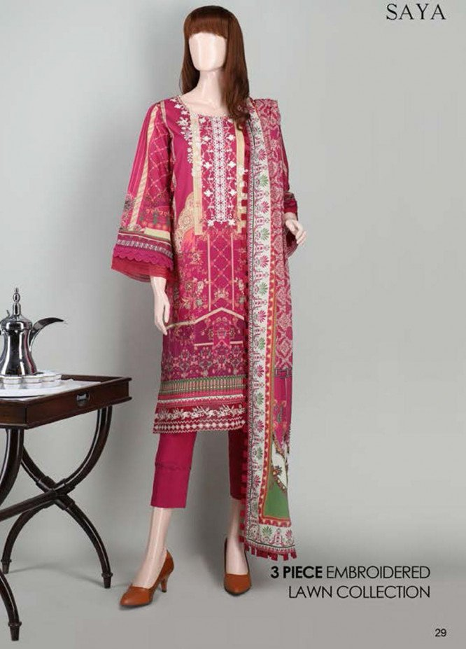 Saya Embroidered Lawn Suits Unstitched 3 Piece SY21SS IN BLOCKS (UF-2023-21B) - Spring / Summer Collection
