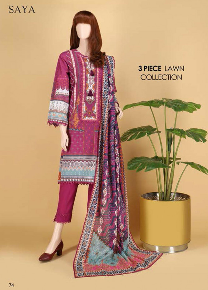 Saya Embroidered Lawn Suits Unstitched 3 Piece SY21SS IN THE LIGHT (UP-2023-01B) - Spring / Summer Collection