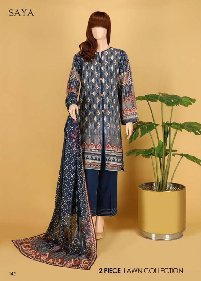 Saya Embroidered Lawn Suits Unstitched 2 Piece SY21SS INDULGENCE (UB-2023-07E) - Spring / Summer Collection