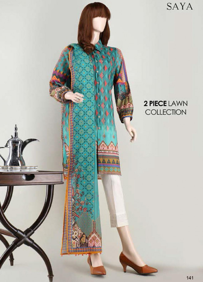 Saya Embroidered Lawn Suits Unstitched 2 Piece SY21SS INDULGENCE (UT-2023-07D) - Spring / Summer Collection