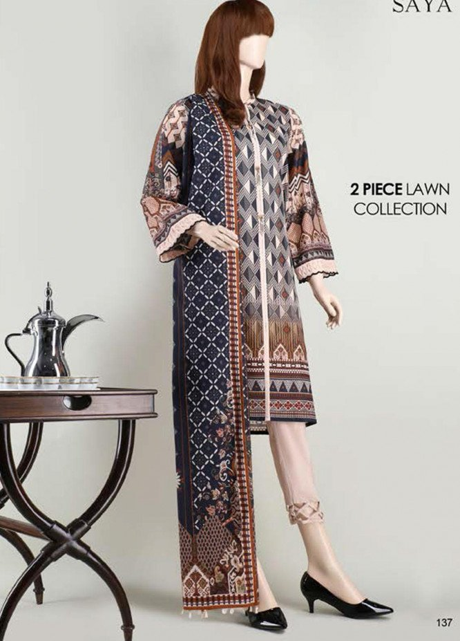 Saya Embroidered Lawn Suits Unstitched 2 Piece SY21SS INULGENCE (UB-2023-07A) - Spring / Summer Collection