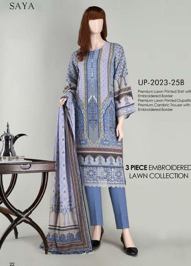 Saya Embroidered Lawn Suits Unstitched 3 Piece SY21SS JEWEL MYSTERY (UB-2023-25B) - Spring / Summer Collection