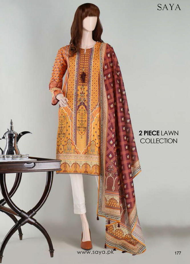 Saya Embroidered Lawn Suits Unstitched 2 Piece SY21SS JEWEL MYSTERY (UY-2023-25C) - Spring / Summer Collection